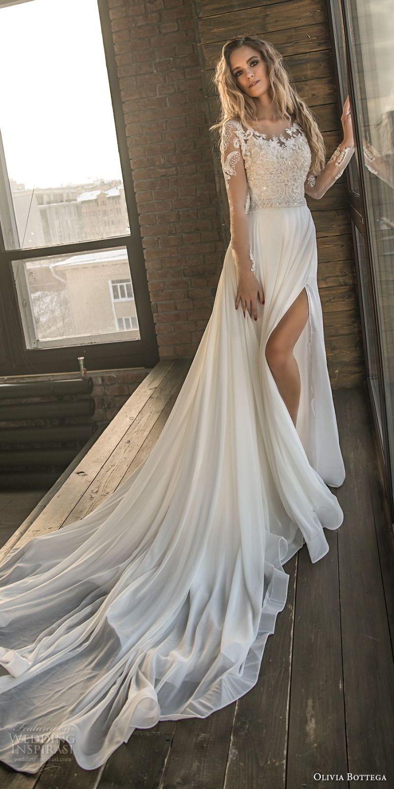 olivia bottega 2018 bridal long sleeves sweetheart neckline heavily embellished bodice side slit elegant a  line wedding dress lace button back chapel train (3) mv