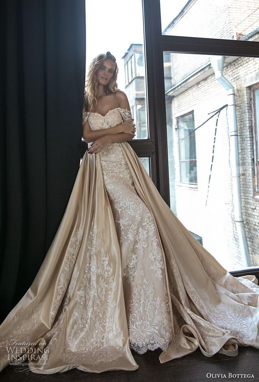 olivia bottega 2018 bridal off the shoulder sweetheart neckline full embellishment elegant romantic fit and flare wedding dress a  line overskirt chapel train (11) mv