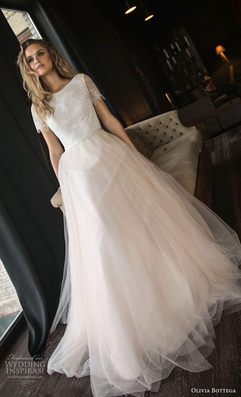 olivia bottega 2018 bridal short sleeves bateau neckline lightly embellished bodice tulle skirt romantic blush a  line wedding dress chapel train (13) mv