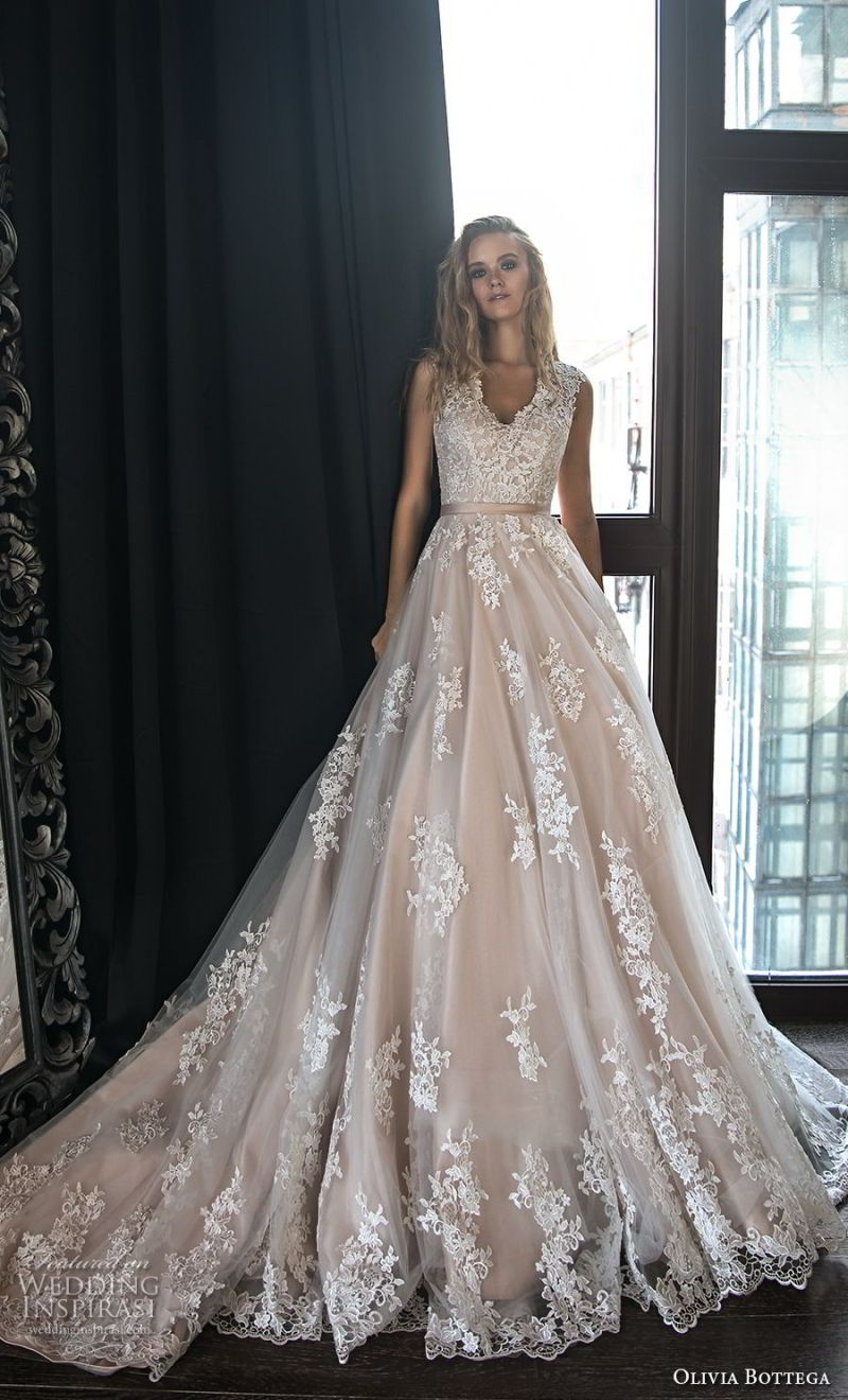 olivia bottega 2018 bridal sleeveless thick strap v neck full embellishment romantic blush a  line wedding dress chapel train (12) mv