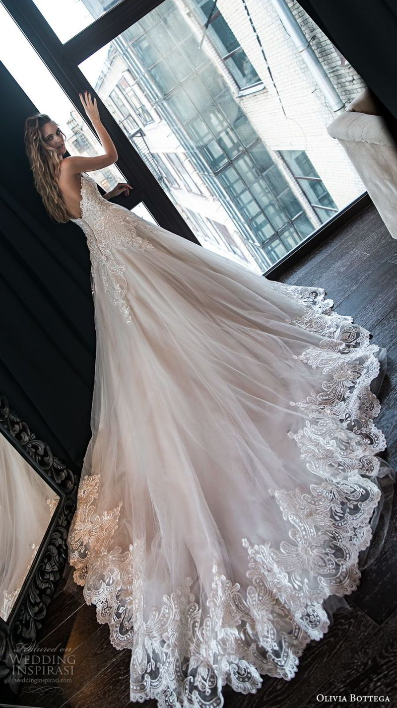 olivia bottega 2018 bridal strapless sweetheart neckline heavily embellished bodice romantic blush a  line wedding dress chapel train (8) bv
