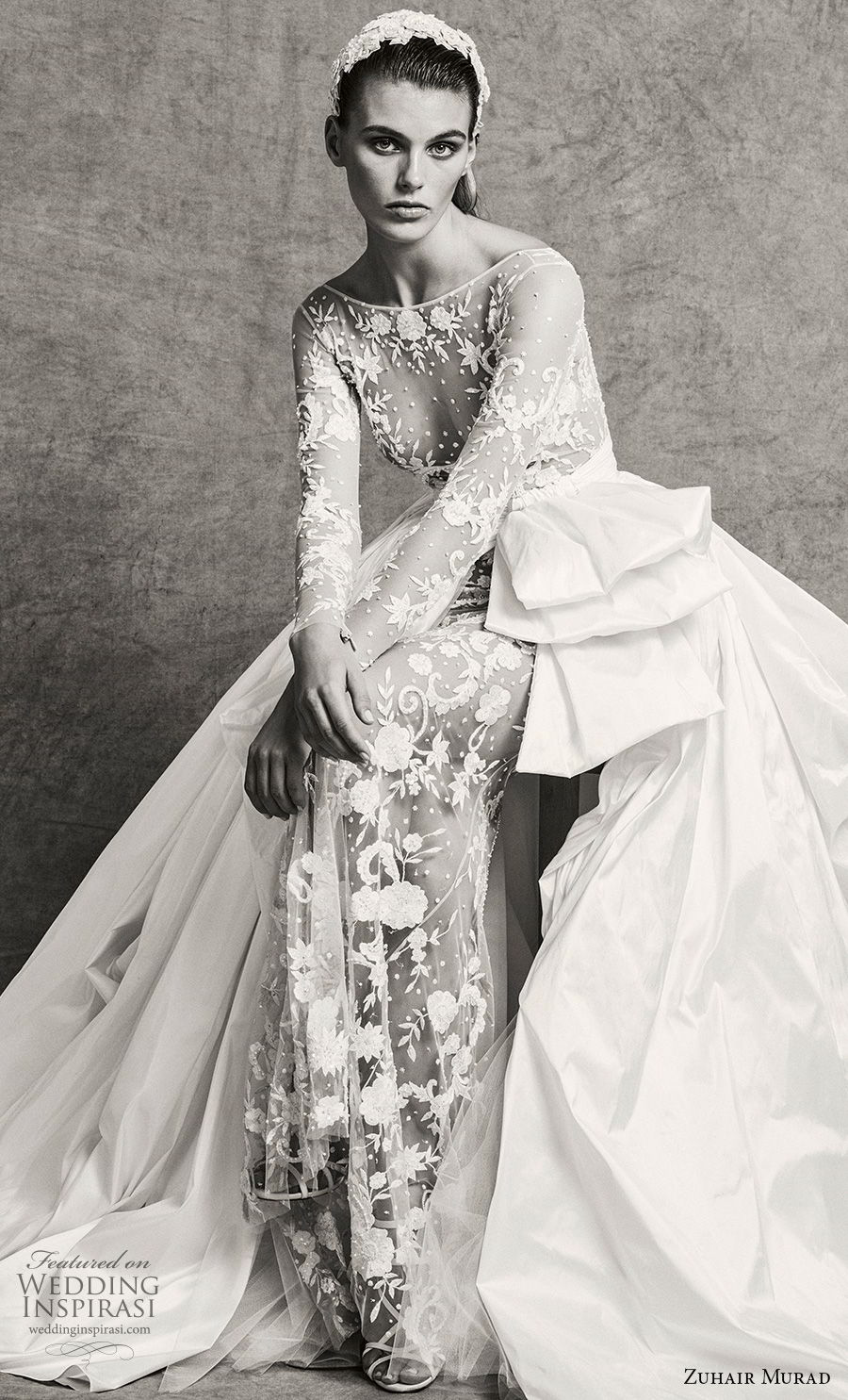 ab40c8bbc5e zuhair murad fall 2018 bridal long sleeves bateau neckline full  embellishment elegant sexy sheath wedding dress