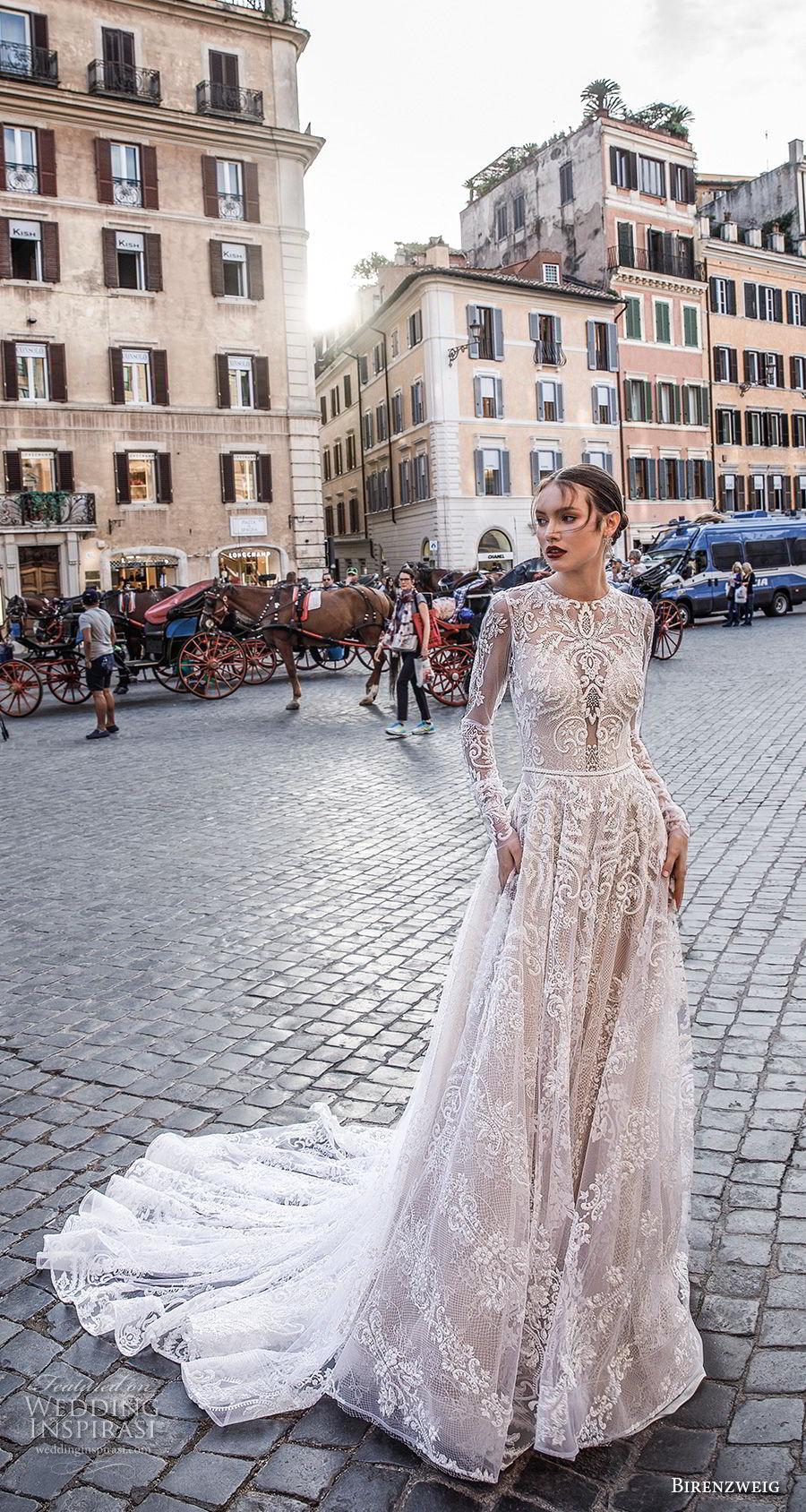 birenzweig 2018 bridal long sleeves jewel neck full embellishment elegant a line wedding dress keyhole backup chapel train (2) mv