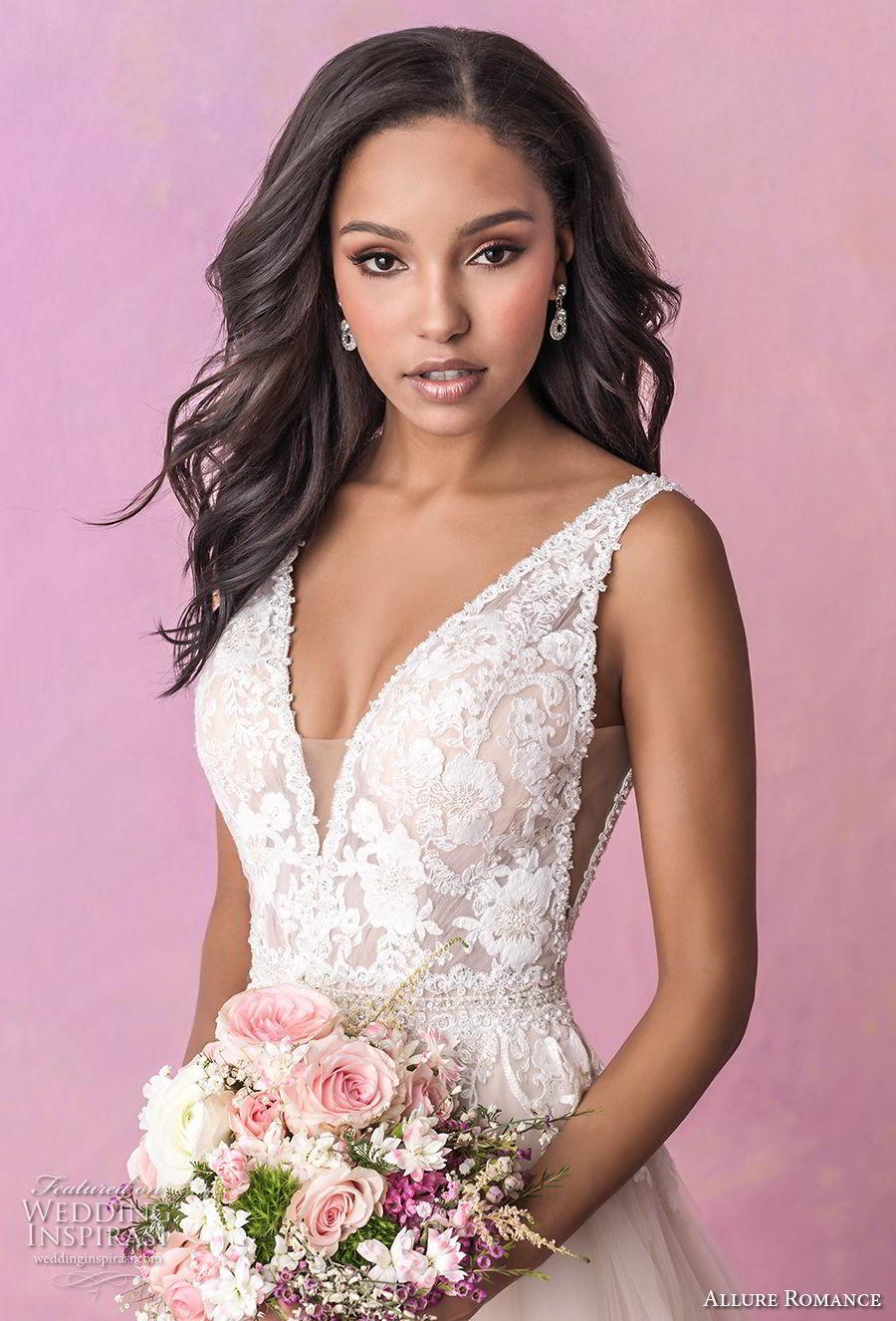 allure romance fall 2018 bridal sleeveless deep v neck heavily embellished bodice romantic blush soft a line wedding dress open v back chapel train (3) zv