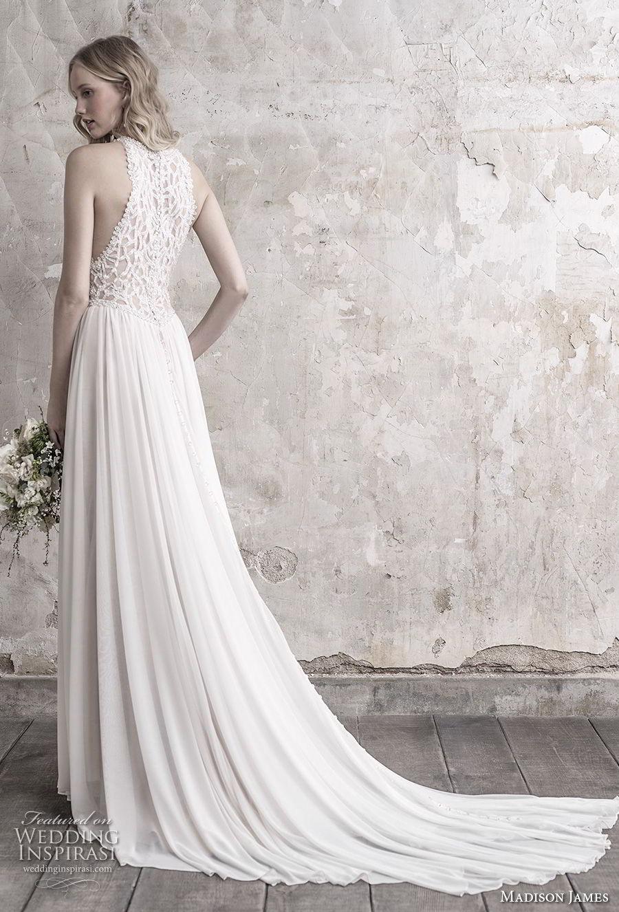madison james fall 2018 bridal sleeveless halter jewel neck heavily embellised bodice pleated skirt romantic modified a line wedding dress lace back chapel train (5) bv