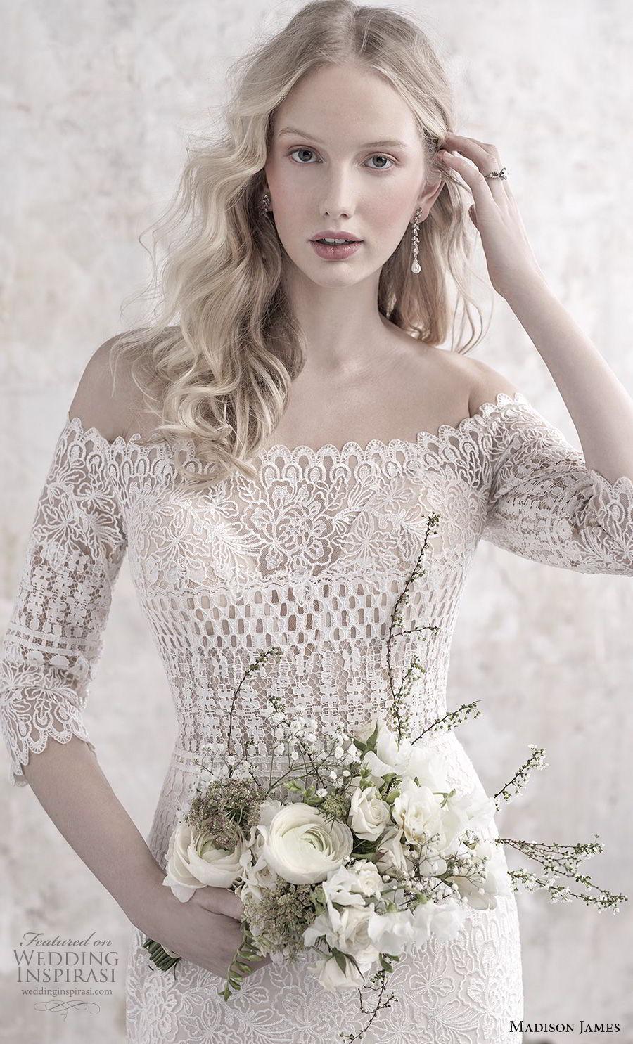 madison james fall 2018 bridal three quarter sleeves off the shoulder full embellishment elegant vintage fit and flare sheath wedding dress lace back sweep train (1) zv
