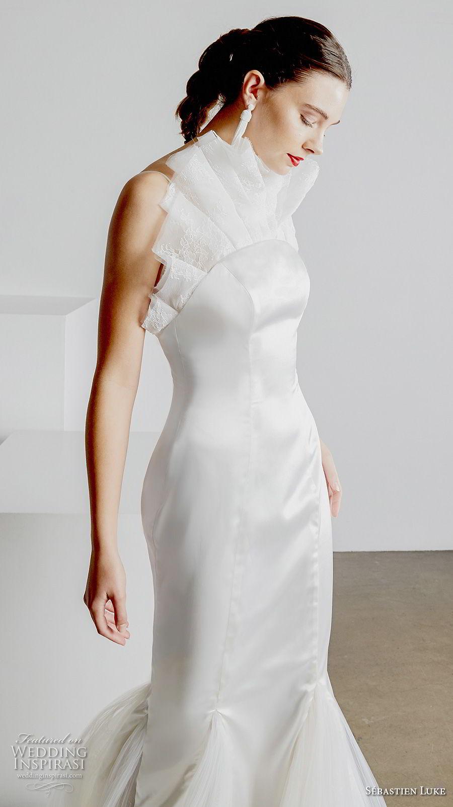 sebastien luke spring 2019 bridal strapless crumb catcher neckline simple minmalist elegant modern mermaid wedding dress open back chapel train (3) zv
