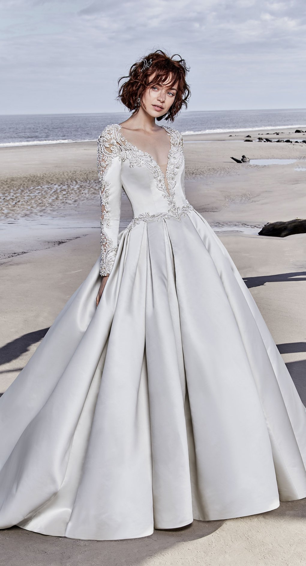 sottero midgley plunging vneck long sleeve ball gown wedding dress (brennon) mv romantic princess