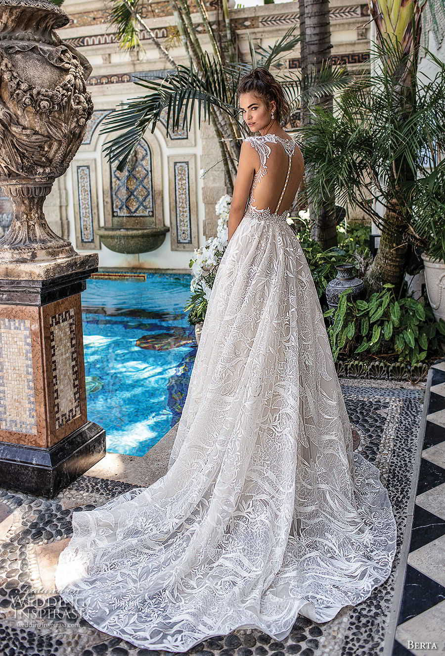 berta spring 2019 bridal cap sleeves deep plunging v neck full embellishment romantic glamorous a line wedding dress sheer button back chapel train (4) bv