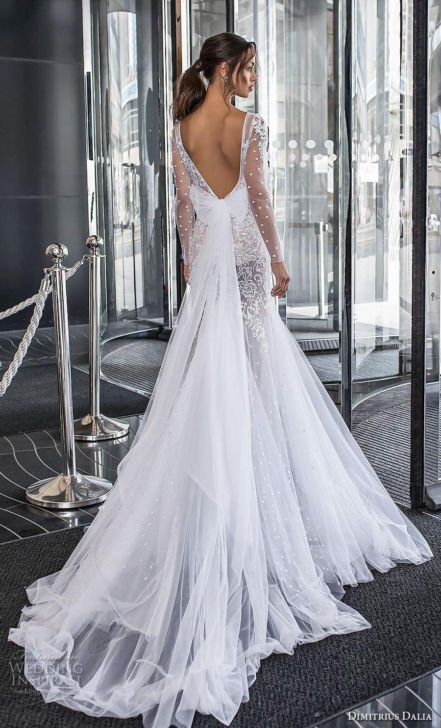 dimitrius dalia 2018 royal long sleeves deep v neck heavily embellished bodice tulle skirt sexy trumpet wedding dress chapel train (3) bv