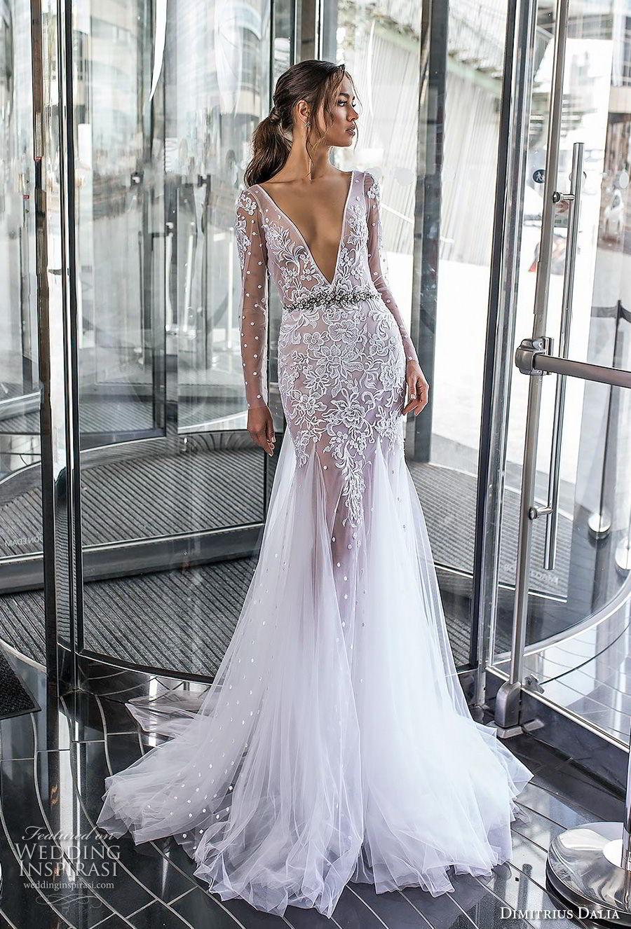 dimitrius dalia 2018 royal long sleeves deep v neck heavily embellished bodice tulle skirt sexy trumpet wedding dress chapel train (3) mv