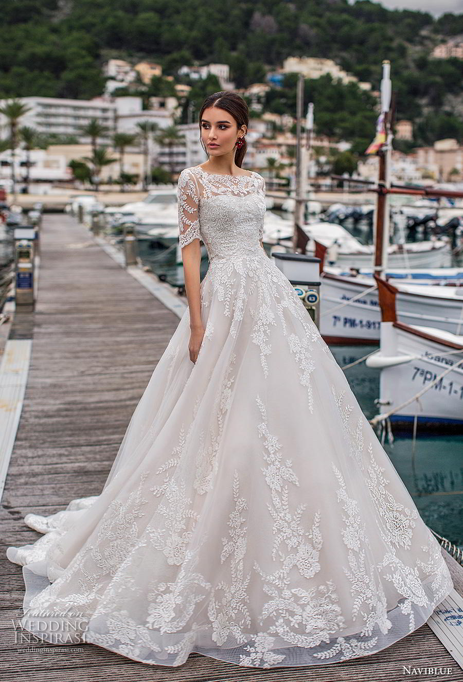 naviblue 2019 bridal half sleeves illusion bateau sweetheart neckline heavily embellished bodice hem a line wedding dress lace back chapel train (14) mv