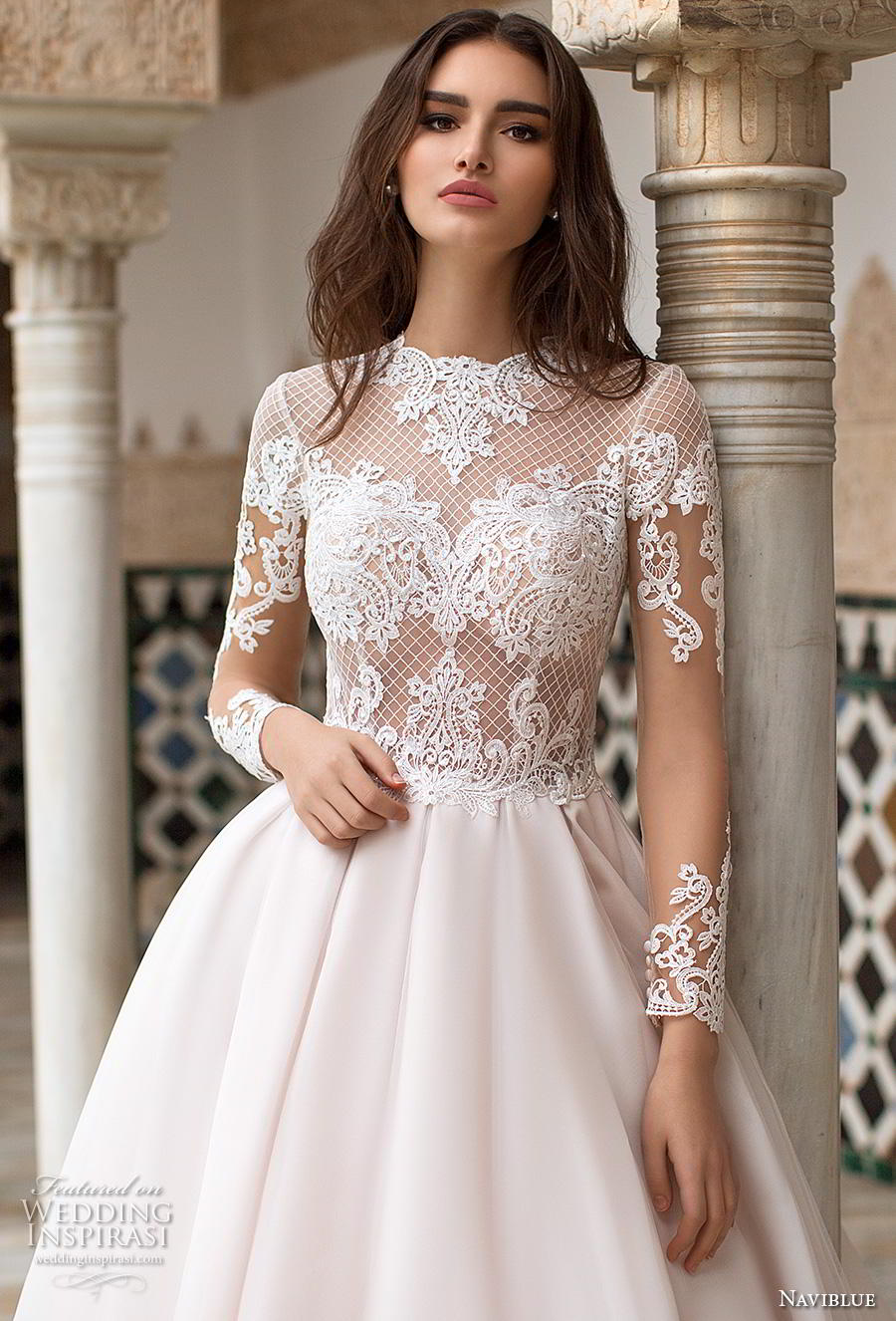 naviblue 2019 bridal long sleeves jewel neck heavily embellished bodice elegant a line wedding dress covered lace back chapel train (9) zv