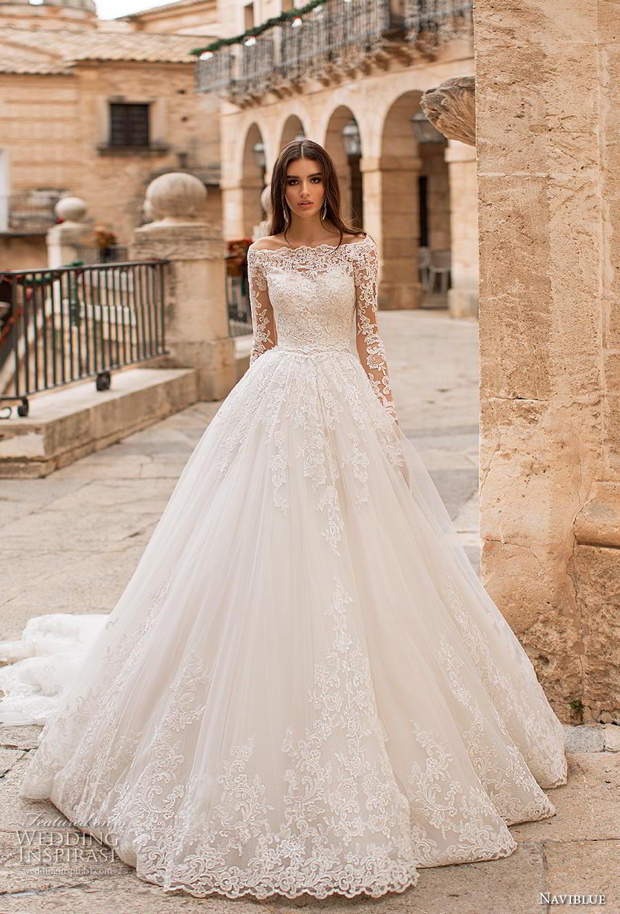 naviblue 2019 bridal long sleeves off the shoulder becjlie heavily embellished bodice hem princess ball gown a line wedding dress lace back royal train (12) mv