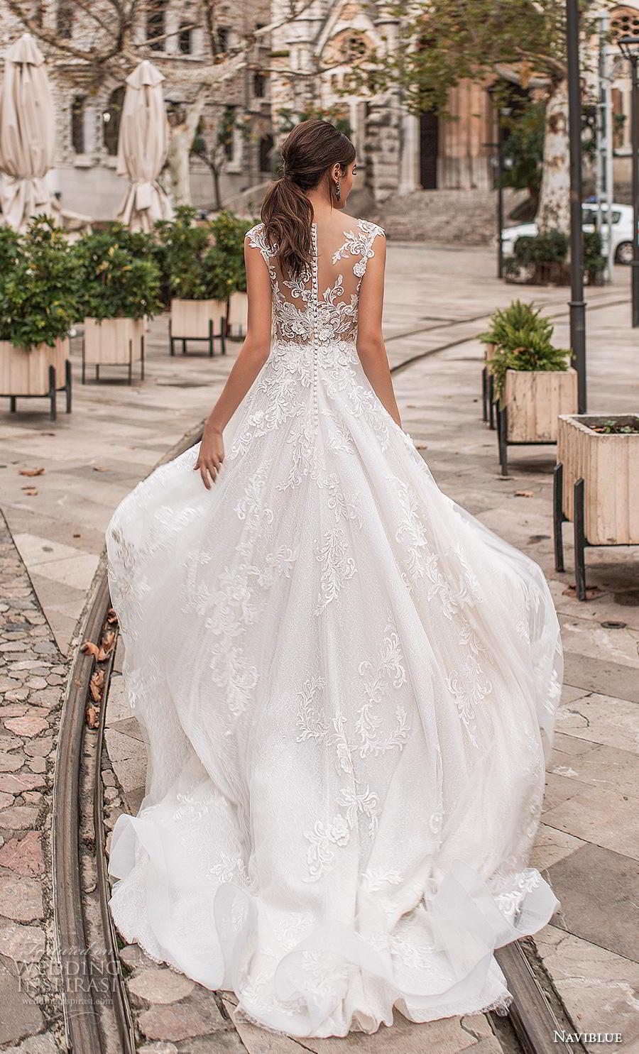 naviblue 2019 bridal sleeveless illusion bateau neck full embellishment elegant a line wedding dress sheer button lace back chapel train (6) bv