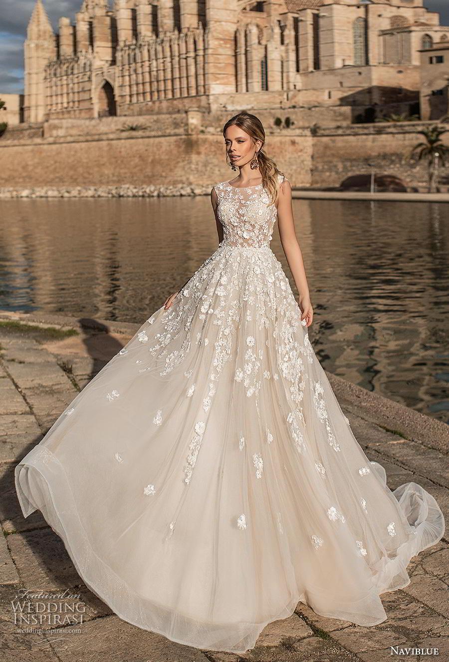 naviblue 2019 bridal sleeveless jewel neckline heavily embellished bodice romantic a line wedding dress covered lace back chapel train (16) mv