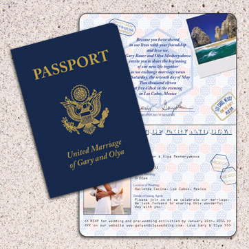 Pport To Love Wedding Abroad Invitation