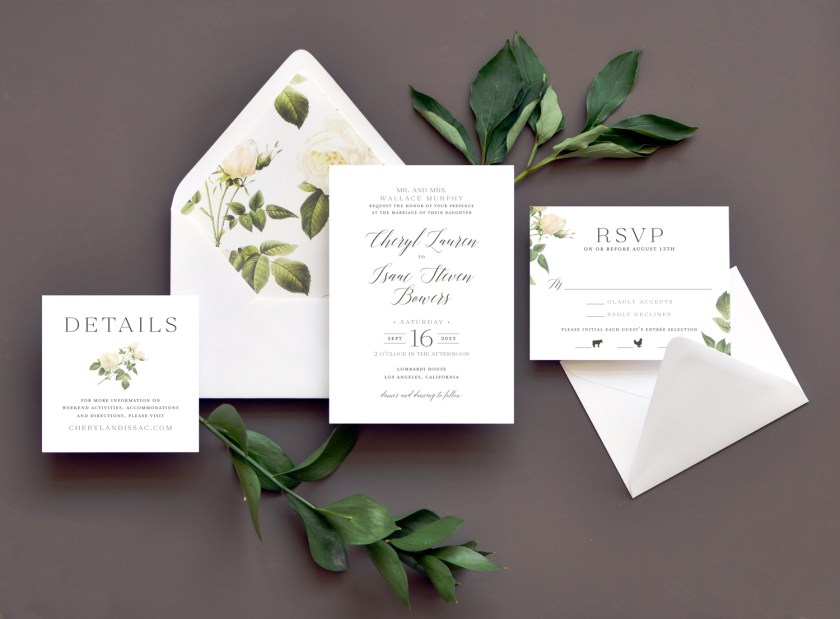 White Roses On The Dramatic Envelope Liner Are A Perfect Accent To This Text Based
