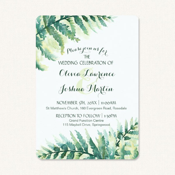 Fern Green Wedding Invitations With Watercolor Fronds