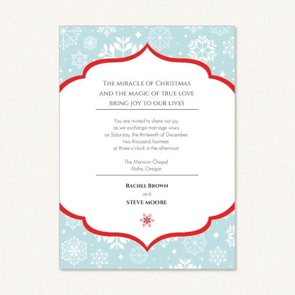 Snowflake Wedding Invites With Holiday Wording Theme