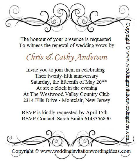 Vow Renewal Invitation Content Wedding Anniversary Invitations Party