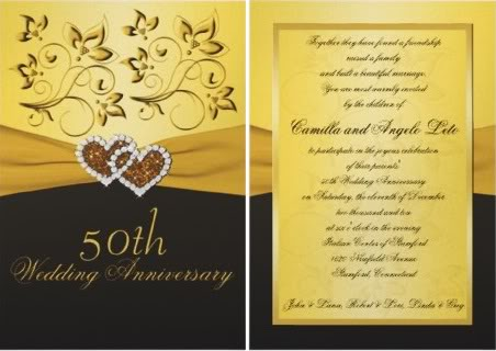 Gold Ivory 50th Wedding Anniversary Invitation