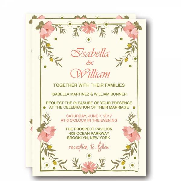 Simple Wedding Invitations With Flowers Rustic And Garden Summer Spring Watercolor Blush Colors Greenery Yellow Green Boho