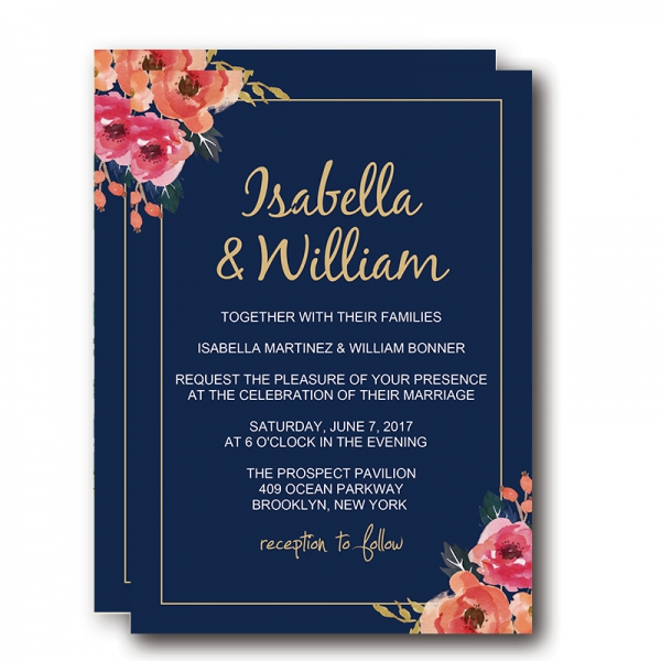 Navy Blue Fl Wedding Invitations Elegant Blush And Pink Flowers Boho Watercolor Pattern Spring