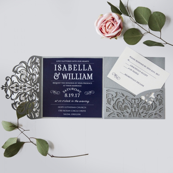 Wedding Invitations Captivating Navy Blue Silver Laser Cut Pocket Winter Spring Wlc021