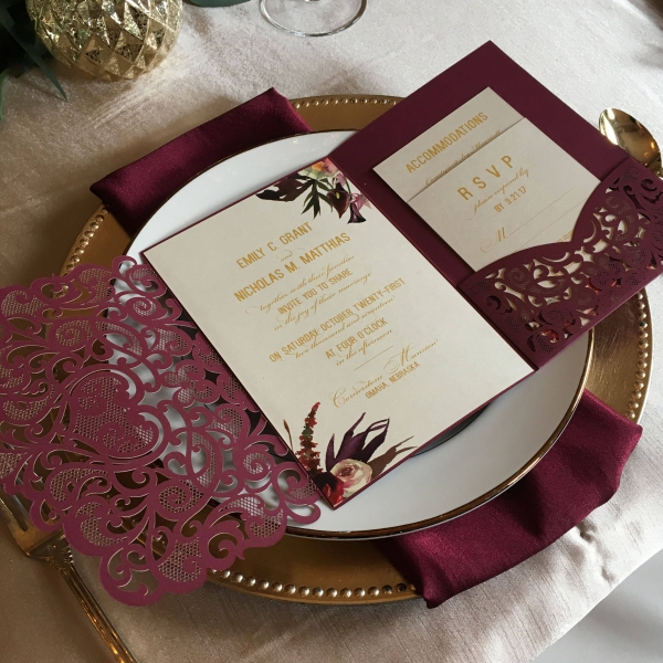 Elegant Burgundy Marsala Laser Cut Pocket Wedding Invitations Gold Foil Wordings Vintage Invites And Blush Flowers Fall Weddings