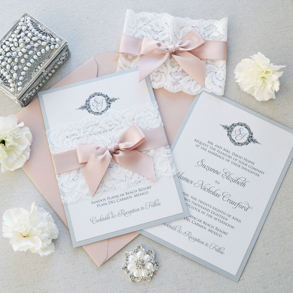 Vintage Lace Shade Of White Spring Wedding Invitations Blush Elegant Wlc040