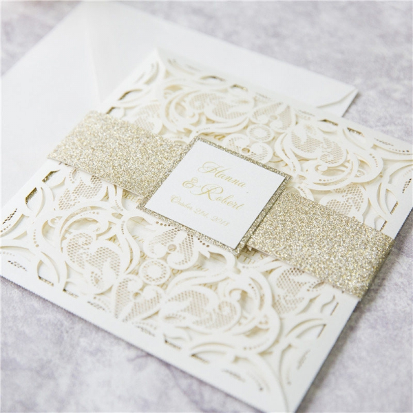 White Ivory Laser Cut Wedding Invitations With Gold Glitter Belly Band Spring Fall Winter Elegant Wlc042