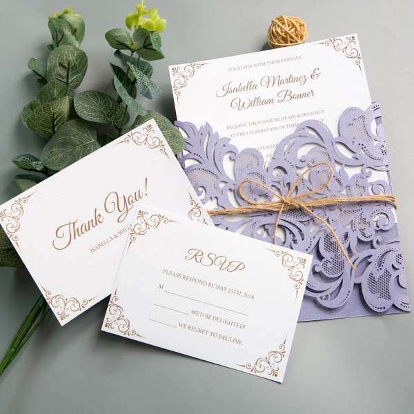 Rustic Lilac Lavender Laser Cut Wedding Invitations With Twine Purple Spring Colors Ws005