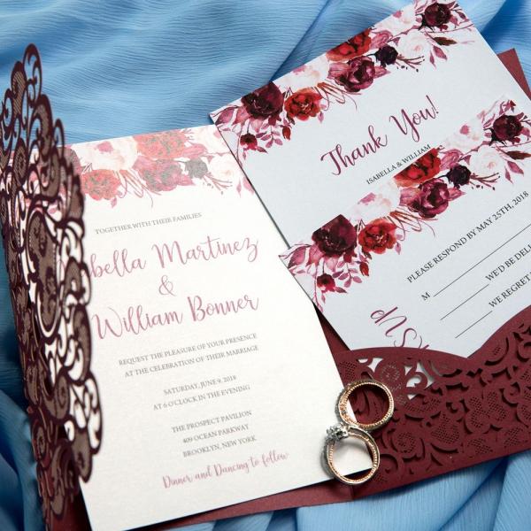Fall Burgundy Pocket Laser Cut Wedding Invitations With Flowers Elegantweddinginvites Bridal Shower Ws029