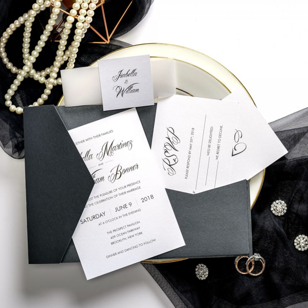 Black Vintage Wedding Invitations With Vellum Transpa Belly Band And Square Tag Classic Pocket Invitation For Fall Winter Ws034
