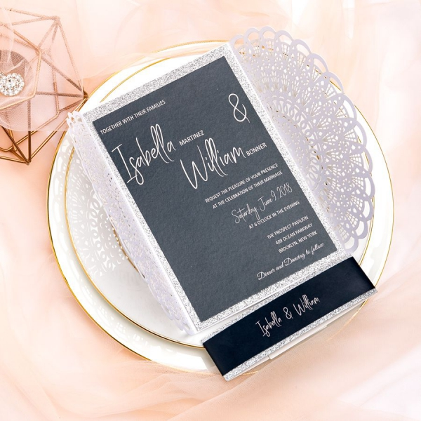 White Laser Cut Wedding Invitations Elegant With Black Belly Bands Fall Winter Vintage Silver Glitter Ws050
