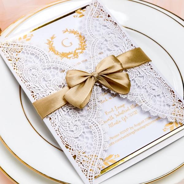 Ivory White Laser Cut Wedding Invitations With Gold Ribbon Foil Invites Elegant Fall Vintage Monogram