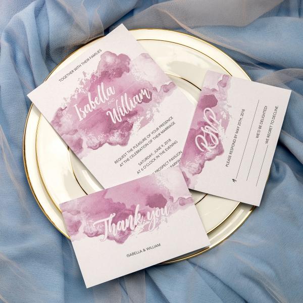 Mauve Purple Watercolor Wedding Invitations For Fall Weddings Beach Boho Custom With Ribbon Vintage Sets