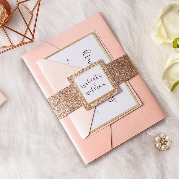Rose Gold Pocket Wedding Invitations
