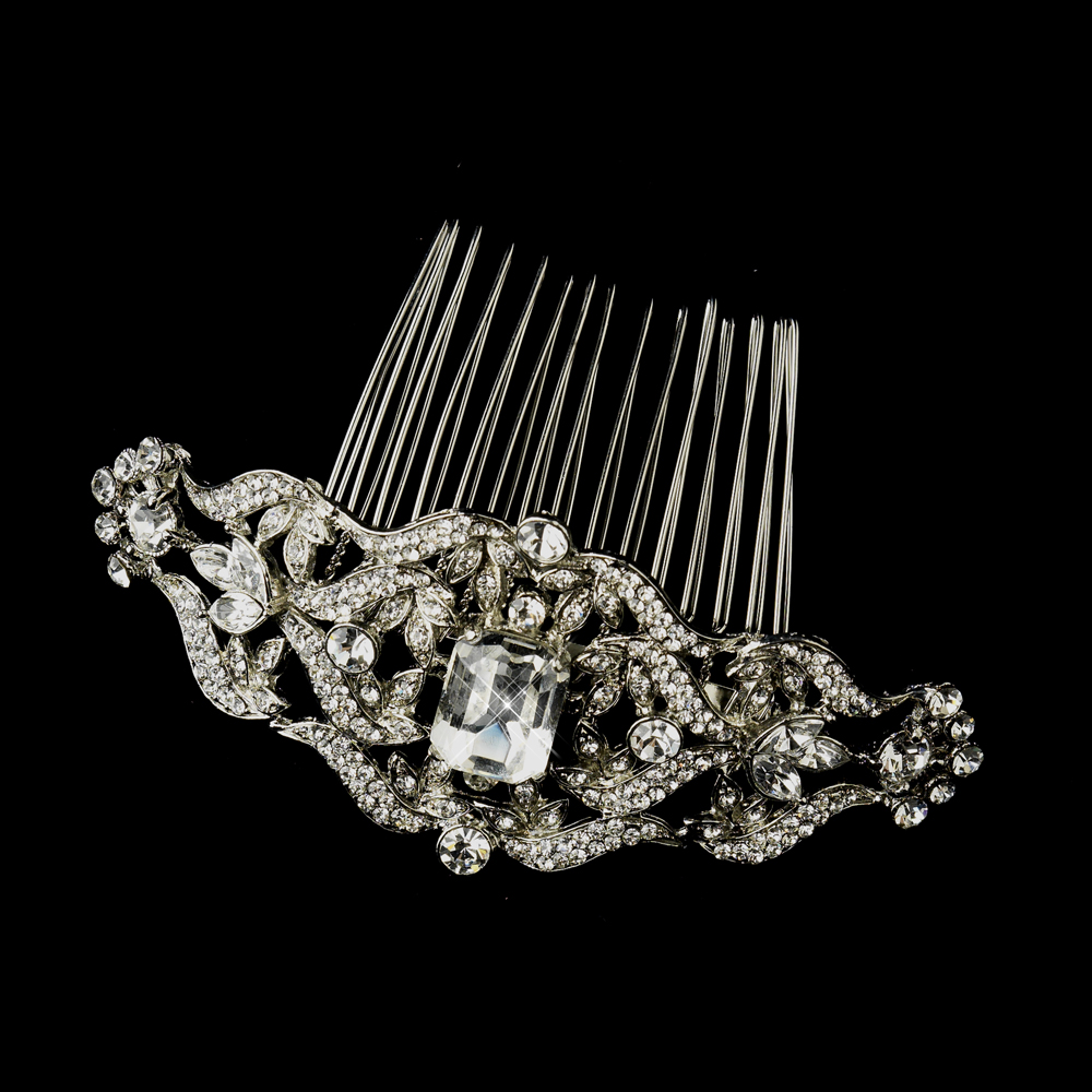 Antique Crystal Bridal Hair Comb Side Hair Comb