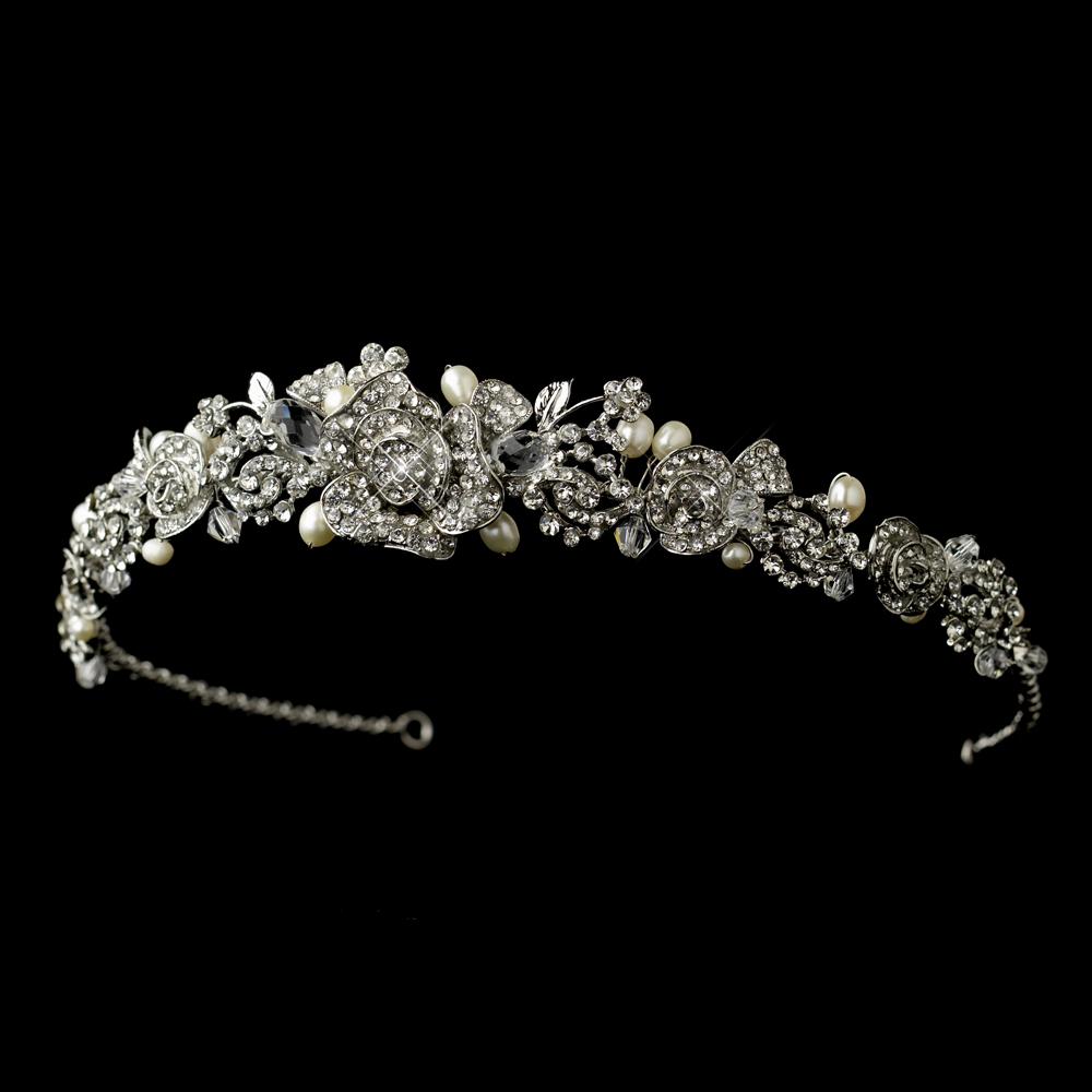 Indu Rose Vintage Pearl And Crystal Rhinestone Bridal Headband