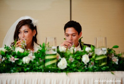 Bride and Groom at a head table at a LDS reception