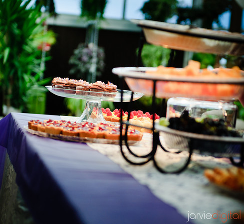 a catered table displayed with food