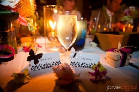 a head table with name plaques