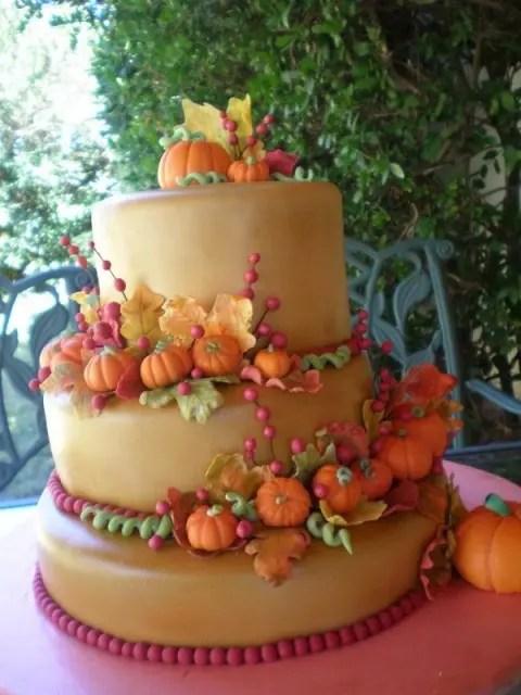 Fun Pumpkin Wedding Cake For Fall