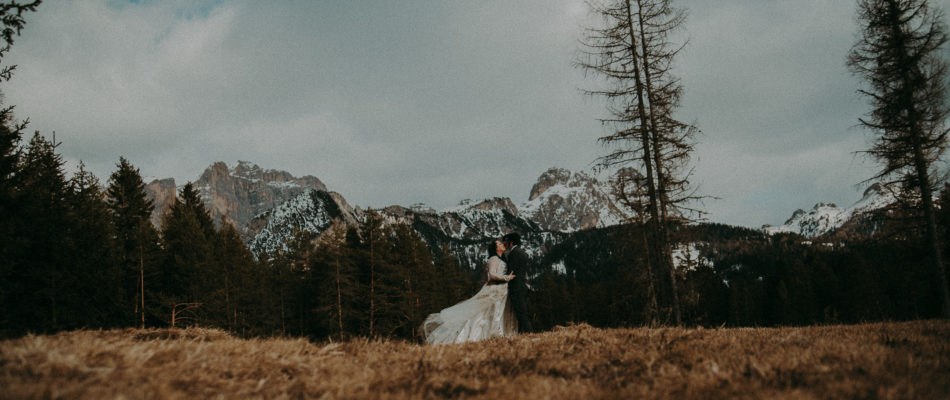 Alta Badia Wedding In March With Moody Weather