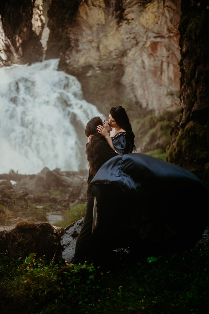Epic Kiss In Front Of Waterfall Best Elopement Locations To Elope In Italy