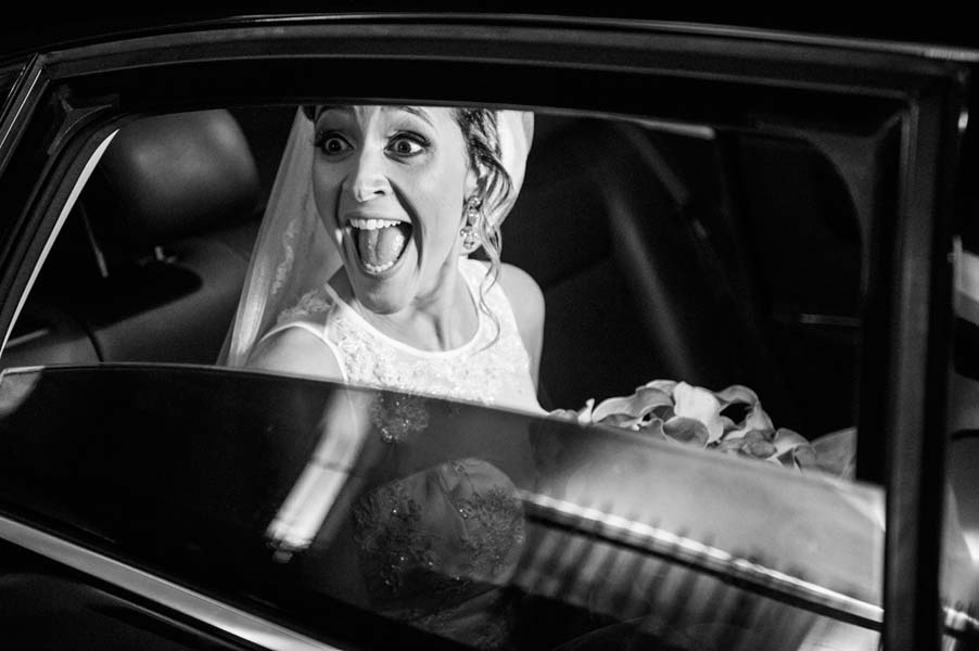 Bride arriving to ceremony in car