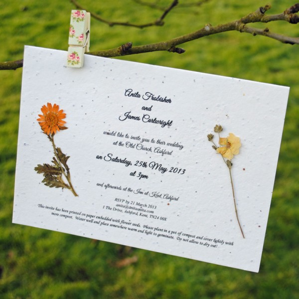 Go natural with wedding stationary printed on seeded paper