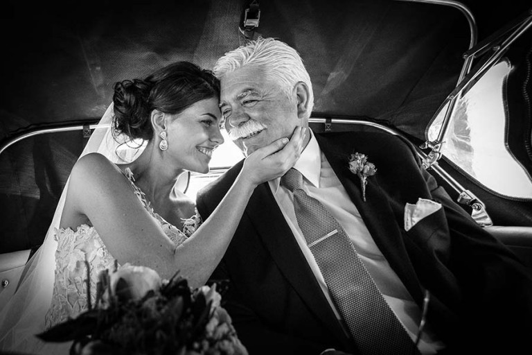 Happy bride and father